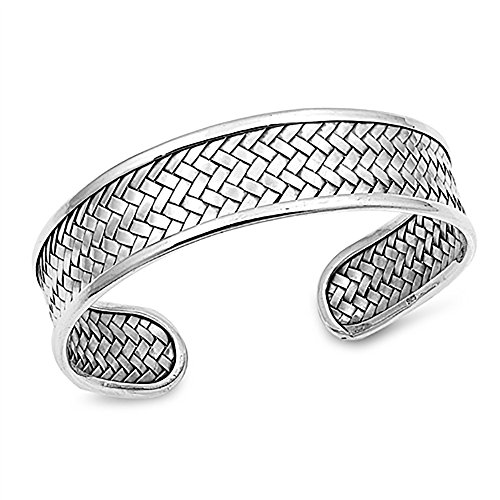 17mm 925 Sterling Silver Bracelet Bali Style Braided Woven Weaving Adjustable Cuff Bangle Bracelet, 7.5