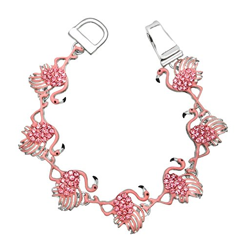 Lola Bella Gifts Pink Flamingo Crystal Magnetic Bracelet with Gift Box (Jewelry Flamingo Pink)