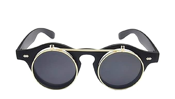 Gafas de sol redondas Steampunk Flip Up Lente doble hipster ...