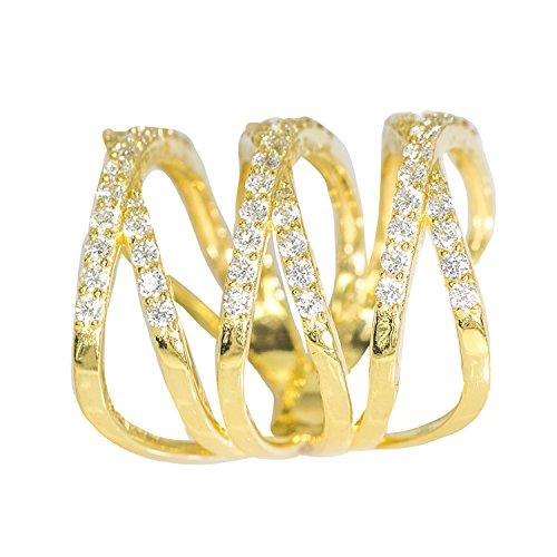 IcedJewels 2.93 cttw Round Cut CZ 10K Yellow Gold Triple Cross Bridge Ring, 7