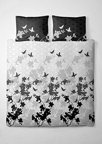 2 tlg. etérea Renforcé Baumwolle Bettwäsche Osaka Schmetterlinge Schwarz Grau Anthrazit, 135x200 cm + 80x80 cm