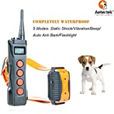 Aetertek Remote Dog Shock Collar 1 year warranty 1000M range 5 Modes (Shock, Light, Vibration , Beep & Auto anti bark) Safe For All Size Dogs Rechargeable & Waterproof trainer (For 1 dog) For Sale