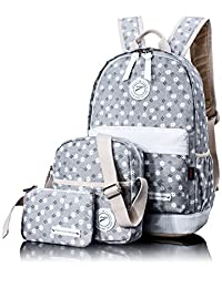 Leaper Girls Canvas Backpack Cute School Laptop Knapsack Travel Backpack Shoulder Computer Hand Bag Purse Rucksack Daypack 3PCS Gray