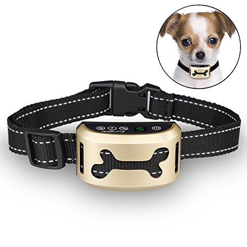 Bark Collar Rechargeable Smart Induction Anti Incorrect Triggering [2017 NEW] 7 Sensitivity Levels No Bark Training Collar Beep/Vibration/Safe Shock for Small Medium Large Dogs By Kungber