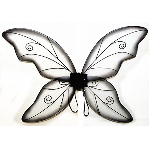 Dark Fairy Wings (Costume Fairy Wings - Large (34in) Pixie Princess Dress up Wings By Cutie Collection (Adult, Black) (DARK BLACK))