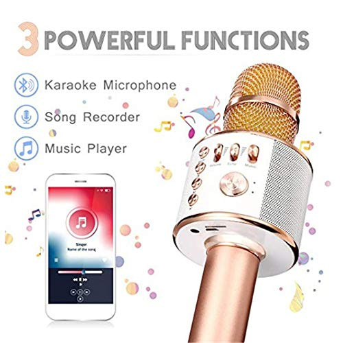 Wireless Karaoke Microphone Machine 3 in 1 Handheld Portable Bluetooth Karaoke Player Compatible with Android & iOS for Home KTV Bar Party Muisc Playing Singing & Recording Wireless Bluetooth Karaoke by Xiuzhifuxie (Image #2)