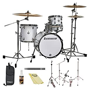 ludwig breakbeats by questlove 4 piece drum set with chromacast accessories white. Black Bedroom Furniture Sets. Home Design Ideas