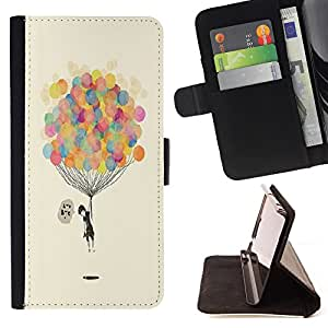 - Balloon ball Colourful - - Style PU Leather Case Wallet Flip Stand Flap Closure Cover FOR HTC One M8 - Devil Case -