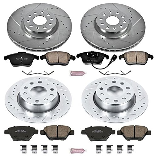 Power Stop K5803 Front and Rear Z23 Evolution Brake Kit with Drilled/Slotted Rotors and Ceramic Brake Pads -