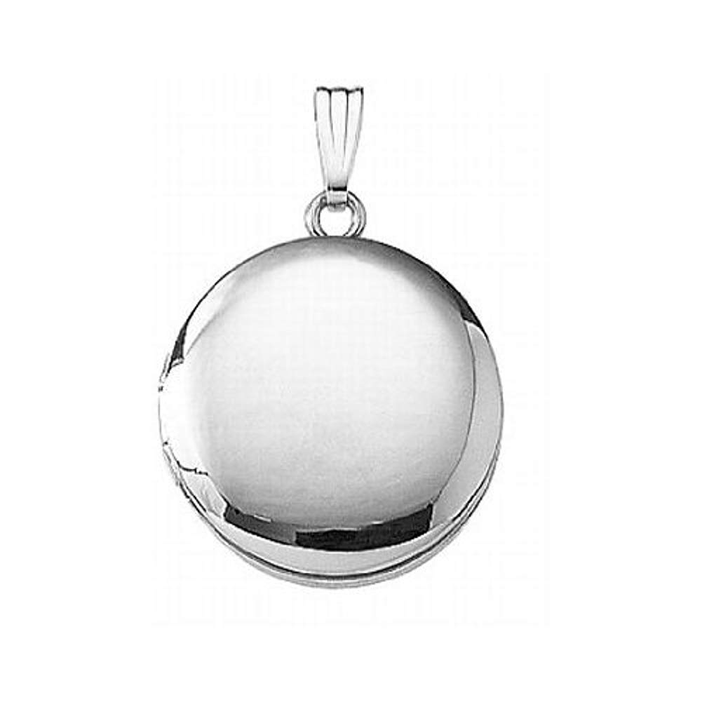 PicturesOnGold.com 14k White Gold Round Locket 3/4 Inch X 3/4 Inch, 14K White Gold