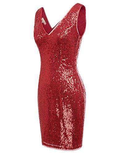 Kate Paillettes Argent Shinning Style Flapper Kasin Crayon Moulante V-cou Robe De Soirée Rouge Foncé