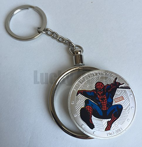 Marvel Superhero Spiderman Silver Plated Collectible Challenge Coin in clear case and keychain, Poker Card Guard, Golf Ball Marker, paperweight + free sticker by Lucky Donk