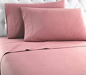 Thermee Micro Flannel Shavel Home Products Sheet Set, Full, Blush