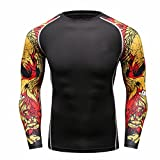 Fanii Quare Men's Soft Slim Long Sleeve Dry-Fit Compression Gym Trainning Shirt Black 01 XL