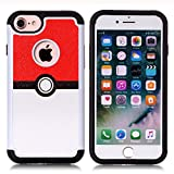 pokemon protective phone case - Iphone 7 Case, Iphone 8 Case, Red and White Ball Pattern Shock-Absorption Hard PC and Inner Silicone Hybrid Dual Layer Armor Defender Protective Case Cover for Apple iphone 7 and iphone 8