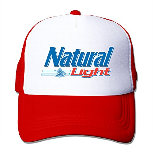 Logo Natural - Adult Natural Light Logo Adjustable Mesh Hat Trucker Baseball Cap Red