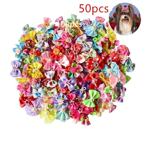 FairOnly New 100/50/lot Dog Grooming Bows Diamond Pearls Style pet Hair Bows Dog Hair Accessories pet Shop Dog acessories 50pcs ()