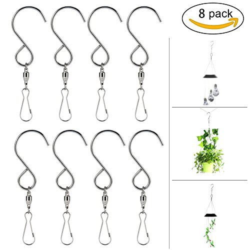 Basket Sculpture (HOPESOOKY Wind Spinners,8-Pack Swivel Hooks Rotating Clips for Hanging Wind Chimes Plants Basket Birdcage Party Ornaments(Stainless Steel))