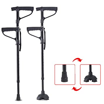 XRX 2-in -1 Adjustable Quad Cane Lightweight Walking Stick for Men, Women