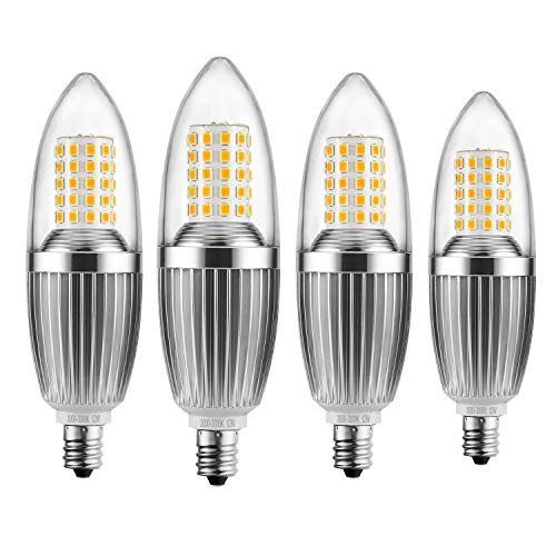 HzSane E12 LED Candle Bulbs 12W, 100W Incandescent Bulbs Equivalent, 3300K Warm White Candelabra E12 SES Bulbs, Non-Dimmable, 1200Lm, LED Light Bulb, Small Edison Screw Candle Light Bulbs, 4-Pack