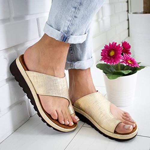 - 2019 New JJLIKER Womens Summer Flat Sandals Clip Toe Flip Flops Thong Wedge Bottom Beach Slippers Outdoor Non-Slip Shoes
