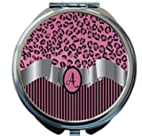 Rikki Knight Letter''A'' Light Pink Leopard Print Stripes Monogram Design Round Compact Mirror