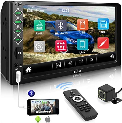 "Hieha Double Din Car Stereo with Bluetooth, 7"" HD Touch Screen Car Radio with Backup Camera, USB-to iOS Android Phone Mirror Link Supports GPS, Call Answering, FM, Music, Video Upgrade Version"