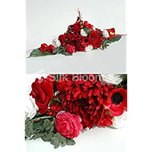 Red Ivory Gerbera Rose Anemone Wedding Top Table Display 45