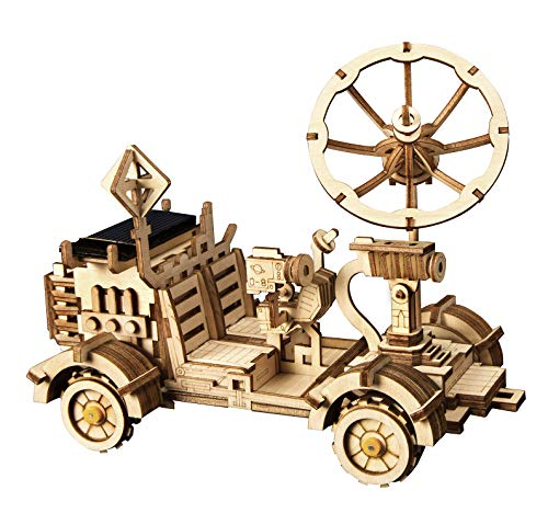 ROKR Mechanical Models,3-D Wooden Puzzle,Solar Energy Powered Cars-Moveable DIY Assembly Toy,Mechanical Gears Constructor Kits,Brain Teaser,Best Gifts for Adults & Teens(Moon Buggy)