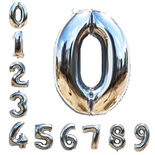 Silver Number Balloons 40inch Helium Birthday Balloons Foil Mylar Digital Balloons for Birthday Engagement Wedding Bridal Shower Anniversary of 2019 BALLOON (0)