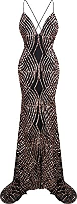 Angel-fashions Women's Spaghetti Strap Sequin V Neck Mermaid Long Sweep Train Ball Gown