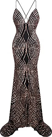 Angel-fashions Women's Spaghetti Strap Sequin V Neck Mermaid Long Ball Gown Large,Brown