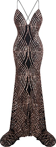 Angel-fashions Women's Spaghetti Strap Sequin V Neck Mermaid Long Ball Gown Medium Brown (Slim Gown Prom)