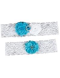 Kawayi Women's Wedding Lace Garter Set 2 Piece With Flowers and Pearls