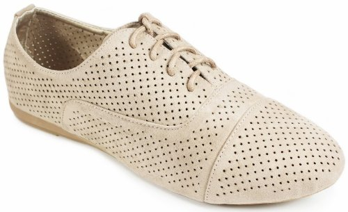 JJF Shoes N35 Taupe Comfort Oxford Perforated Cutout Lace Up Breathable Loafer Flat Shoes-7