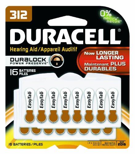 Duracell DA312B16ZM09 Easy Tab Hearing Aid Zinc Air Battery, 312 Size, 1.4V, 175 mAh Capacity (Pack of (1.4v Zinc Air Battery)