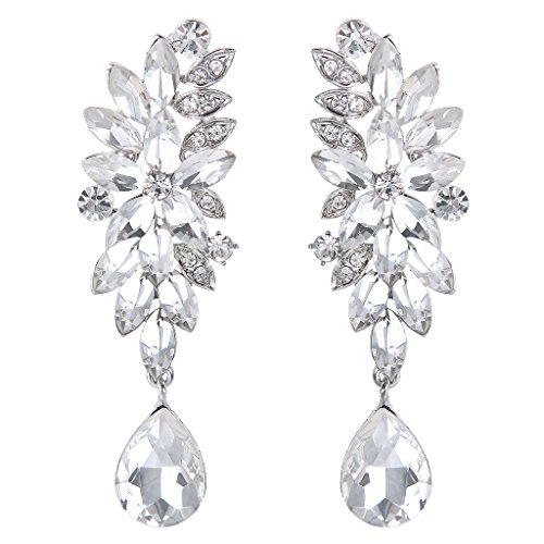 BriLove Women's Bohemian Cluster Crystal Wedding Bridal Floral Marquise Shape Teardrop Dangle Earrings Clear (Crystal Floral Chandelier)