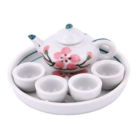 Ceramic Plum Blossom Printed Home Mini Plate Teapot Cup Tea Set  sc 1 st  Amazon.com & Amazon.com | Ceramic Plum Blossom Printed Home Mini Plate Teapot Cup ...