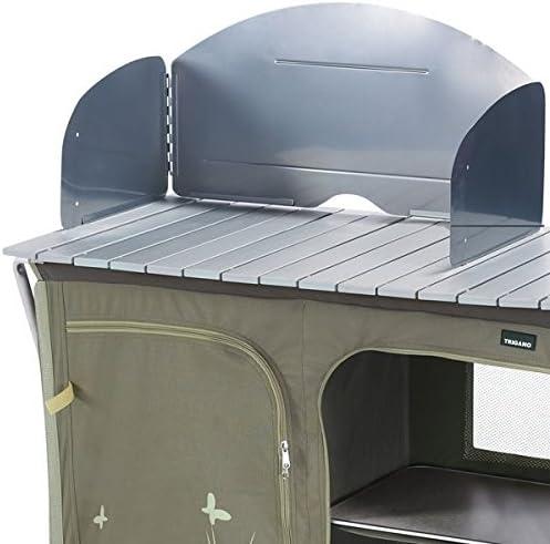 Trigano - Cocina para camping con soporte para cocinar y armario, color arena