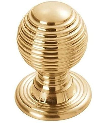 Fingertip Design Solid Queen Anne Reeded/Beehive Cabinet Cupboard Knob - Polished Brass (23mm Knob / 25mm Rose)
