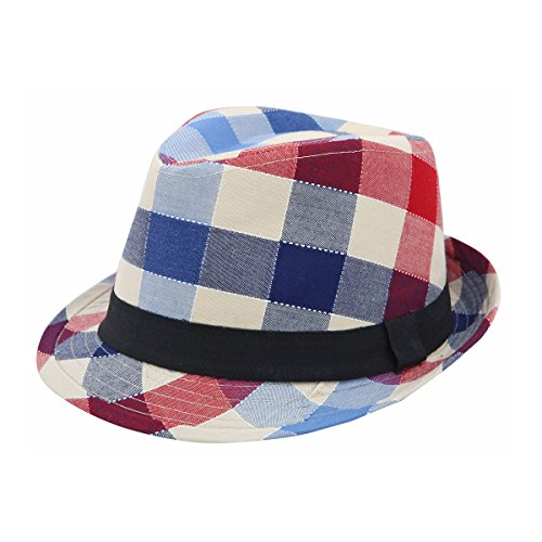 Premium Multi Color Plaid Stitch Black Band Fedora Hat, Red (Fedora Red Plaid)