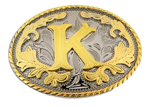 Mens Oval Belt Buckle (Initial Letters Western Style Cowboy Rodeo Gold Oval Belt Buckles (Letter)