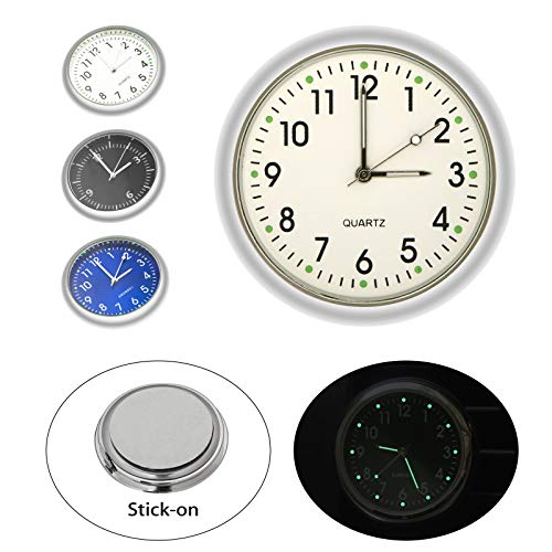 EEEKit Car Clock, Luminous Quartz Analog Watch Universal Pocket Mini Stick-On Clock for Car Boat Bike Home (Miniature Clocks)
