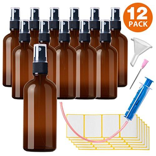 12 De Pack Pulverizador 100 ml de cristal marró n –  incluyendo 28 accesorios HandsUnity