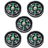 Blackett Button Compasses, 20mm, Oil Filled, For Survival Bracelets, Camping, Hiking, Pack of 5