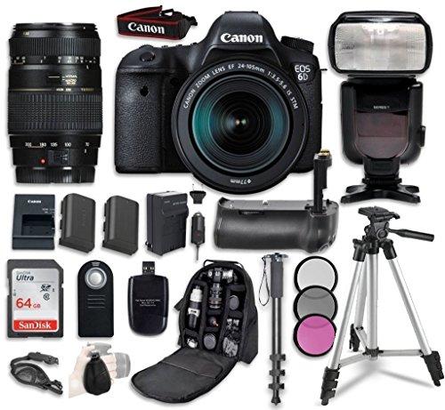 Cheap Canon EOS 6D Digital SLR Camera Bundle withEF 24-105mm f/3.5-5.6 IS STM Lens + Tamron Zoom AF 70-300mm f/4-5.6 Lens + Professional Accessory Bundle (14 items)