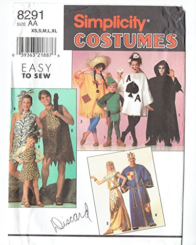 Simplicity 8291 sewing pattern makes Adults' Caveman, Cavegirl, King, Egyptian and other Costumes (Cavewoman Costume Pattern)