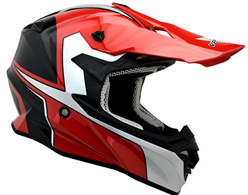 Vega Helmets 3333-033 VF1 Lightweight Dirt Bike Helmet - Off-Road Full Face Helmet for ATV Motocross MX Enduro Quad Sport, 5 Year Warranty (Limited Edition Red, Medium),1 Pack