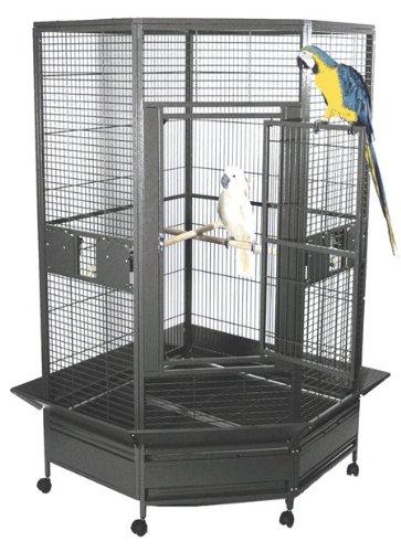 "Kapoho Kave Large Corner Bird Cage - 69"" X 40"" X 72"" - Black Silver"