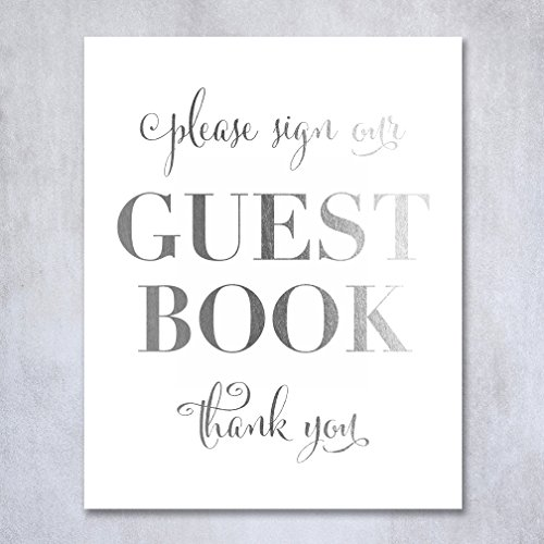 Guest Book Silver Foil Poster Sign Art Print Wedding Reception Seating Signage Bridal Shower Brunch & Bubbly Poster Decor 5 inches x 7 inches